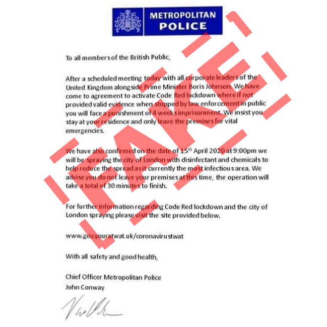 fake police letter covid 19